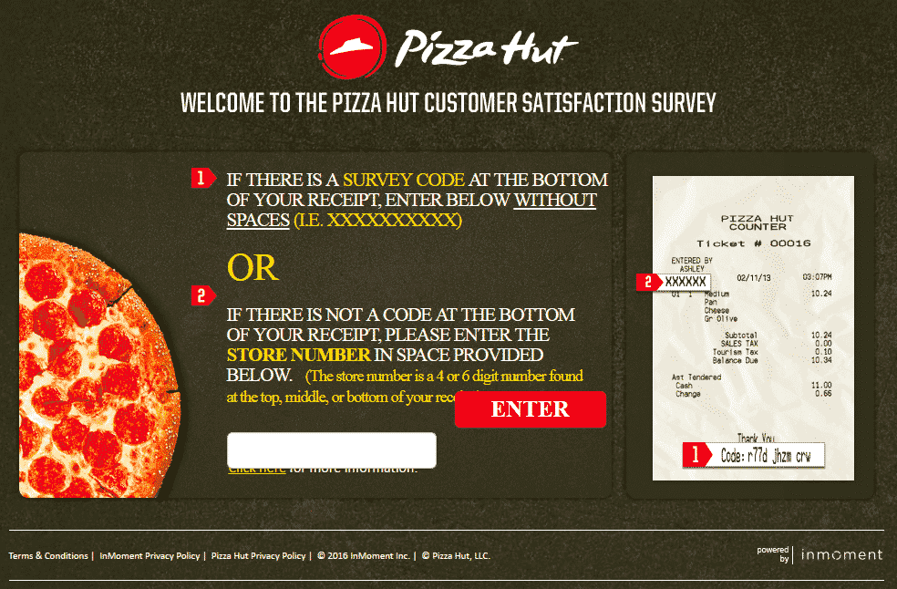 tell pizza hut survey
