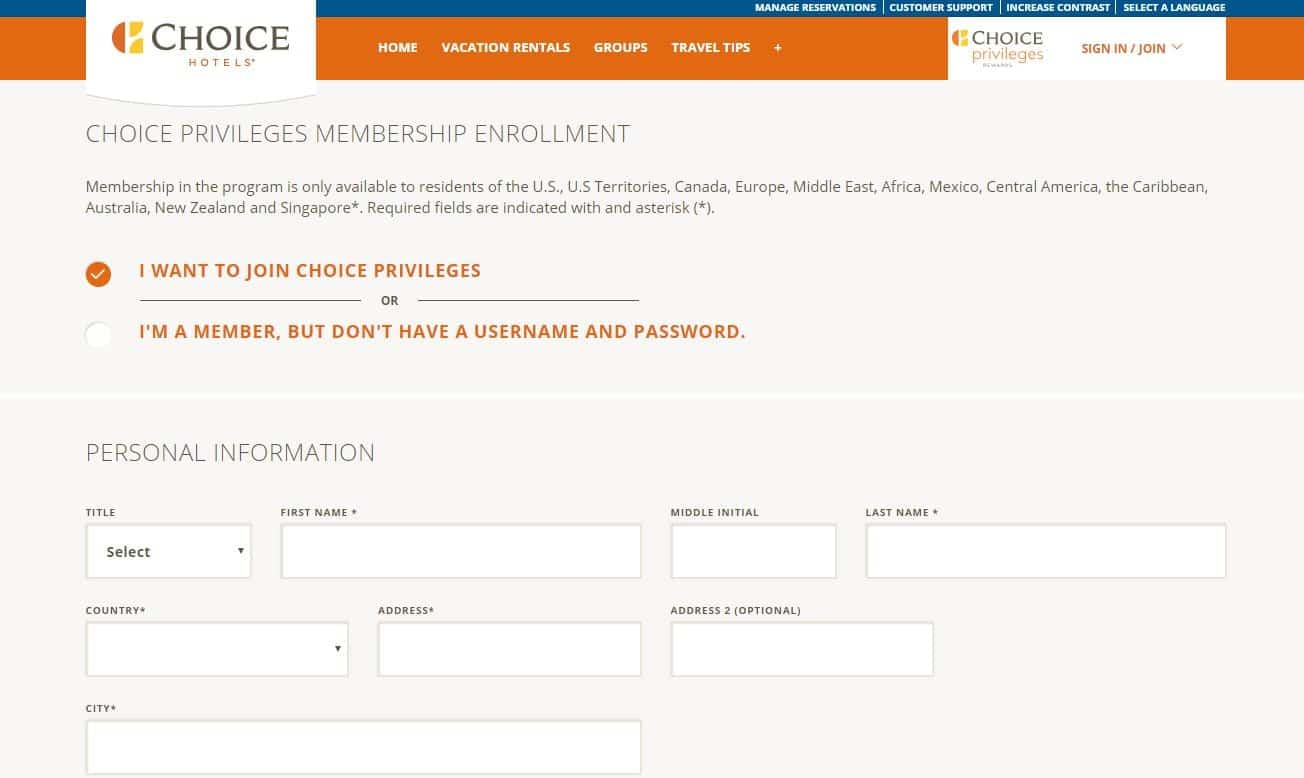 choice privileges - register yourself